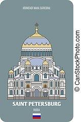 santo, petersburg, navale, cattedrale, kronstadt, russia