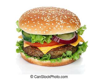 saporito, bianco, hamburger, isolato