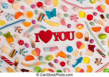saporito, day., valentines, mescolato, colorito, dolci