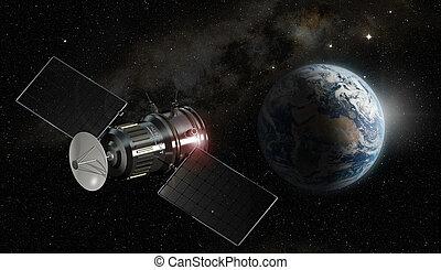 satellite, elementi, ammobiliato, questo, immagine, -, illustrazione, nasa, orbitare, terra, 3d