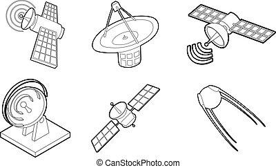satellite, set, stile, icona, contorno