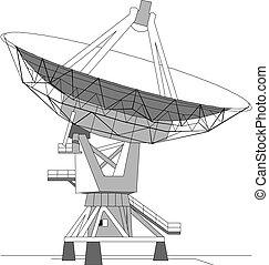 satellite, vettore, piatto, pietanza