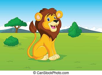 savana, leone, cartone animato