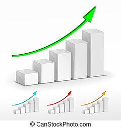 sbarra, affari, concept., graph., vettore, crescita, 3d