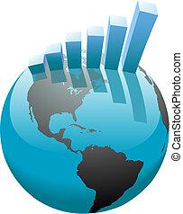 sbarra, affari, grafico, globale, crescita, mondo