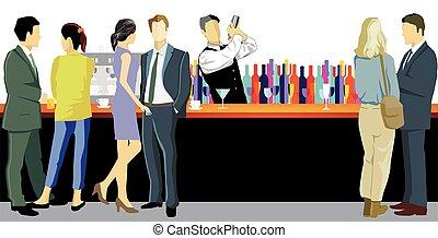 sbarra, barista, counter.eps, giovani adulti
