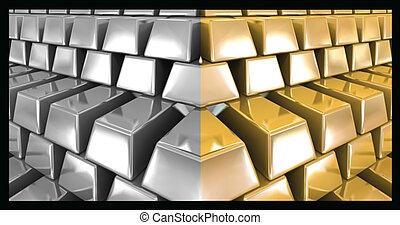 sbarre., vettore, argento, oro