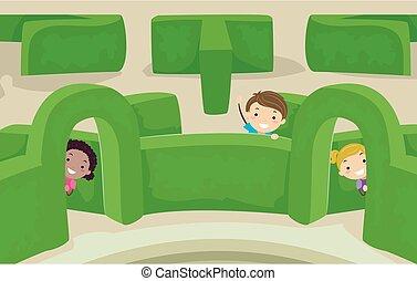 sbirciatina, bambini, stickman, giardino, illustrazione, labirinto