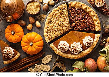 sbriciolare, zucca, mela, pecan, tradizionale, cadere, torte