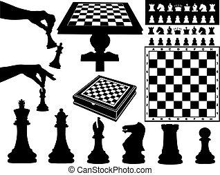 scacchi, illustrazione, pezzi