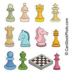 scacchi, isolato, cartone animato