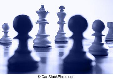 scacchi, regina, attacco, bianco