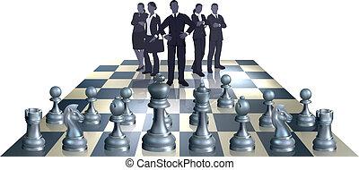 scacchi, squadra, concetto, affari