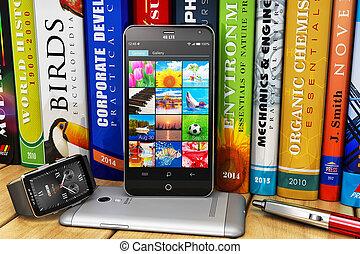scaffale, smartphones, smartwatch