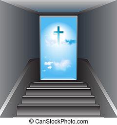 scala, cristo, heaven., croce, gesù, god., modo