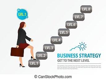 scale., equilibrio donna, wealth-building, opportunities., affari, arrampicarsi, logotipo, concetto, strategia, crescita, successo, addestramento, affari, inizi, novizio