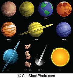 scale), nero, isolato, pianeti, (not