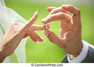 scambio, anelli, matrimonio