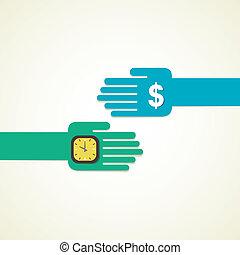 scambio soldi, orologio