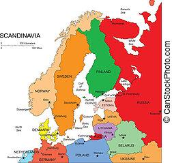 scandanavia, editable, paesi, nomi