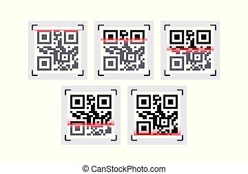 scansione, codice, laser, qr