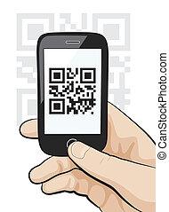 scansione, codice, mobile, mano, telefono, qr, maschio