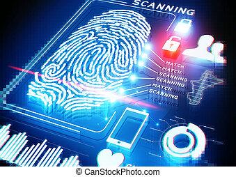 scansione, digitale, impronta digitale