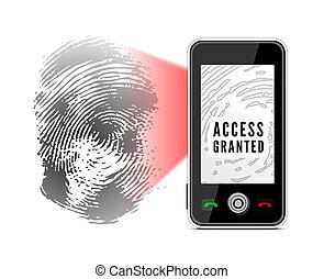 scansione, smartphone, fingerprint.