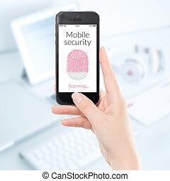scansione, smartphone, mobile, su, impronta digitale, chiudere, sicurezza
