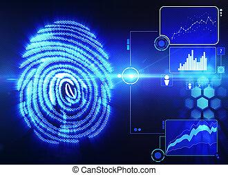 scansione, tecnologia, impronta digitale