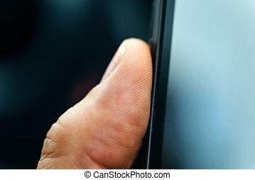 scansione, telefono, impronta digitale, sensore, sbloccando, far male