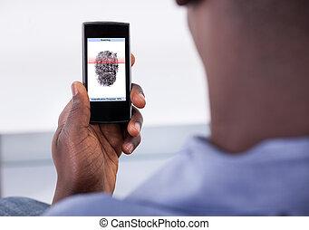 scansione, telefono mobile, authentication, impronta digitale, usando