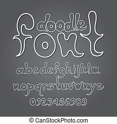 scarabocchiare, astratto, alfabeto, cifra, vettore