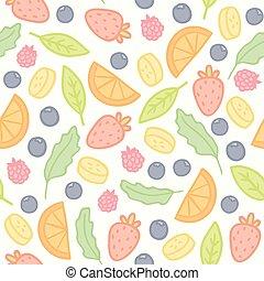 scarabocchiare, bacche, modello, seamless, frutte