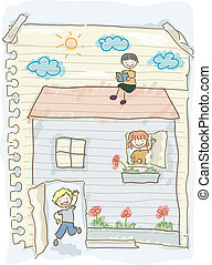 scarabocchiare, bambini, casa esegue