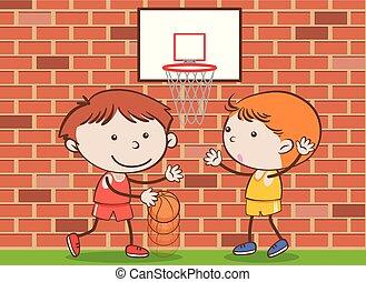 scarabocchiare, bambini scuola, gioco pallacanestro