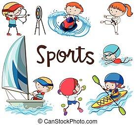 scarabocchiare, bambini, sport, attività