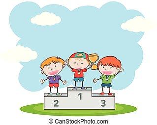 scarabocchiare, bambini, sport, concorrenza, vincente