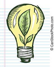 scarabocchiare, bulbo, schizzo, luce, pianta