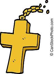 scarabocchiare, cartone animato, catena, crocifisso