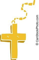 scarabocchiare, cartone animato, crocifisso oro