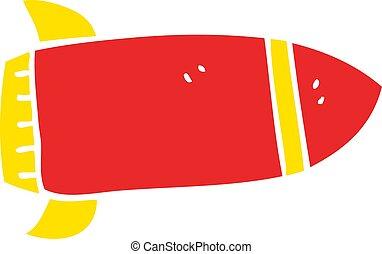 scarabocchiare, cartone animato, razzo, rosso