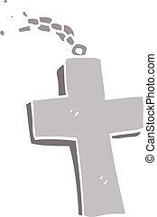 scarabocchiare, croce, argento, cartone animato