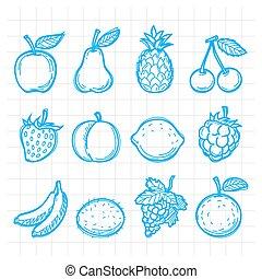scarabocchiare, disegnato, frutte
