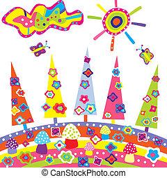 scarabocchiare, elementi, colorato, paesaggio, cartone animato