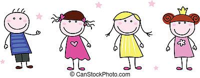 scarabocchiare, -, figure bastone, bambini