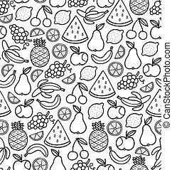 scarabocchiare, frutte, succoso, seamless, nero, modello
