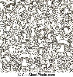 scarabocchiare, funghi, nero, sfondo bianco, seamless, pattern.