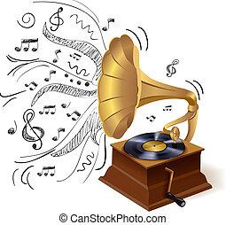 scarabocchiare, grammofono, musica
