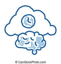 scarabocchiare, icona, illustrazione, disegnato, orologio, nuvola, cervello, mano
